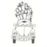 May&Berry Stempel Auto mit Geschenken weiß 35x55mm