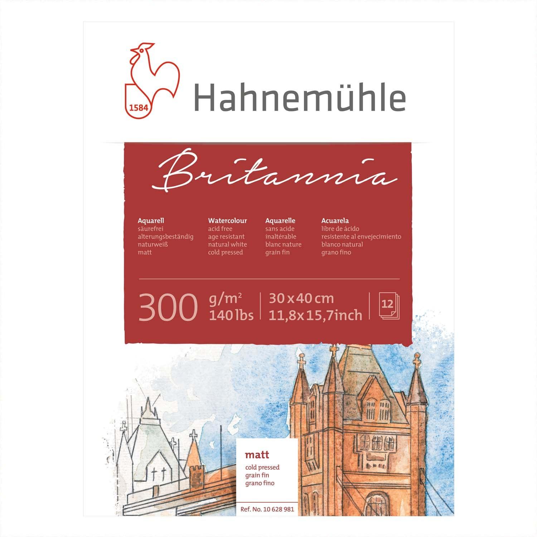 Hahnemühle Aquarellblock Britannia matt 30x40cm 300g/m² 12 Blatt