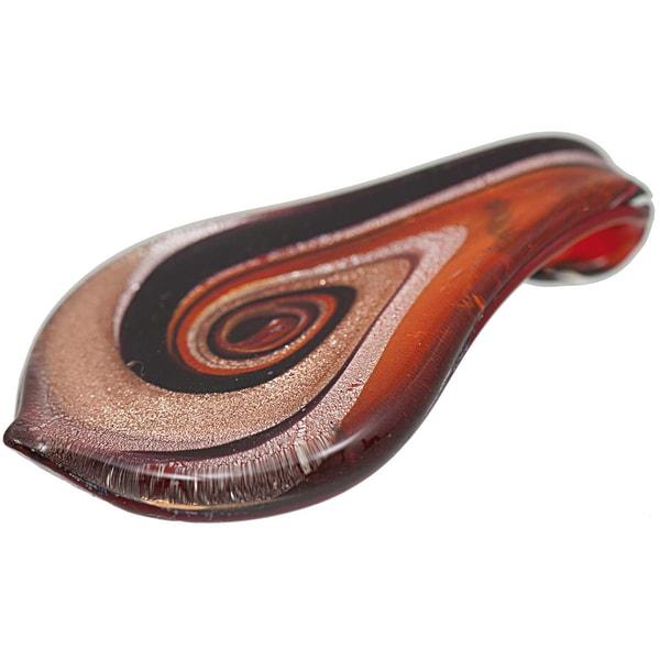 Jewellery Made by Me Anhänger Blatt rot-schwarz-kupfer-silber 66x40mm