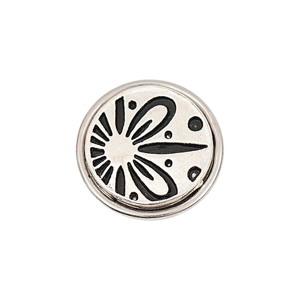 Rico Design Knopf Blüte silber-schwarz 14mm