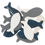 Holzstreu Fisch blau-grau 6cm 12 Stück