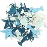 Holzstreu Meerestiere blau 5-6cm 24 Stück