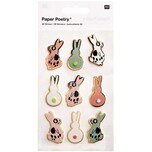 Paper Poetry 3D-Sticker Bunny Hop Hasen rosa 9 Stück