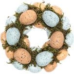 Dekokranz mit Eiern und Moos naturfarben 16cm