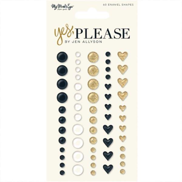 MyMindsEye Scrapbooking Yes Please - Enamel Shapes