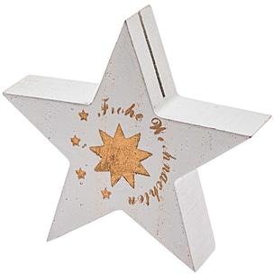 Tischkartenhalter Stern Frohe Weihnachten 8,5cm weiß