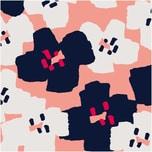 Rico Design Druckstoff Okina Hana Blumen schwarz-pink 50x140 beschichtet
