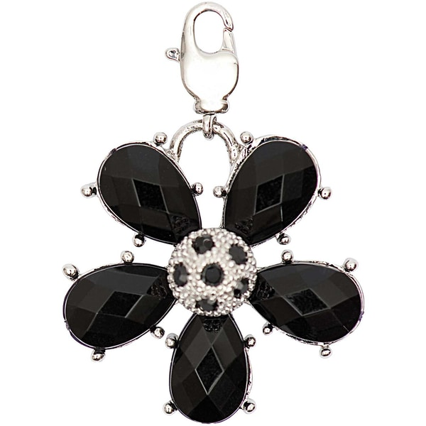 Jewellery Made by Me Big Charm Blume mit Strass schwarz 31x31mm