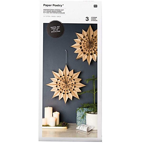 Paper Poetry Bastelset Papiertüten-Sterne groß naturbraun