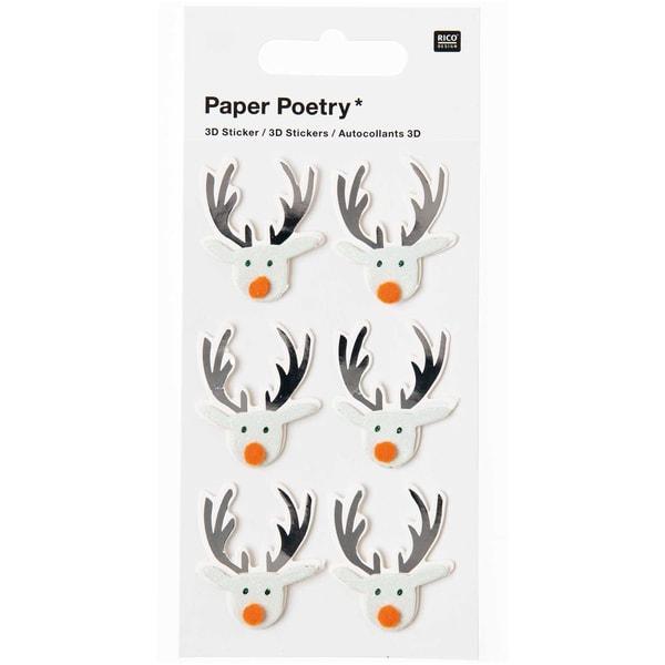 Paper Poetry 3D Sticker Rentier mint