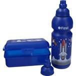 Fizzii Trinkflasche 600ml und Brotdose Weltraum 3-er Set