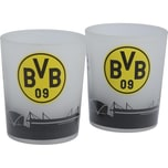 BVB Borussia Dortmund Teelichtgläser Fahnenmeer 2er Set