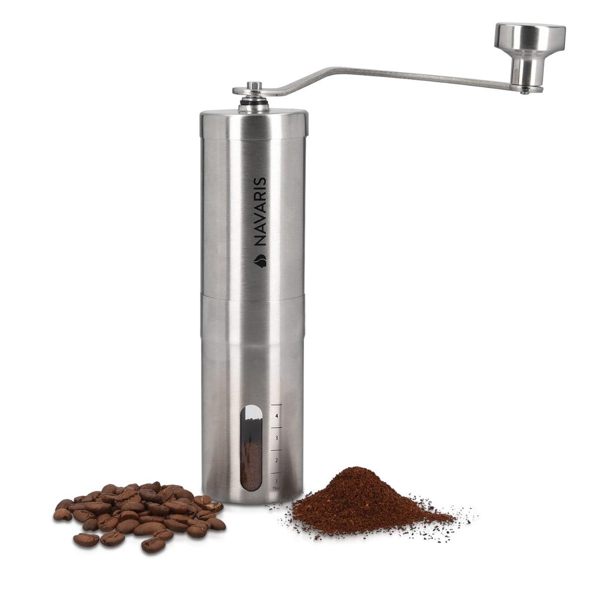 Manuelle Kaffeemühle Edelstahl mit Keramikmahlwerk - silber