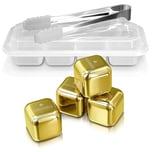Edelstahl-Eiswürfel – Gold - 4er Set