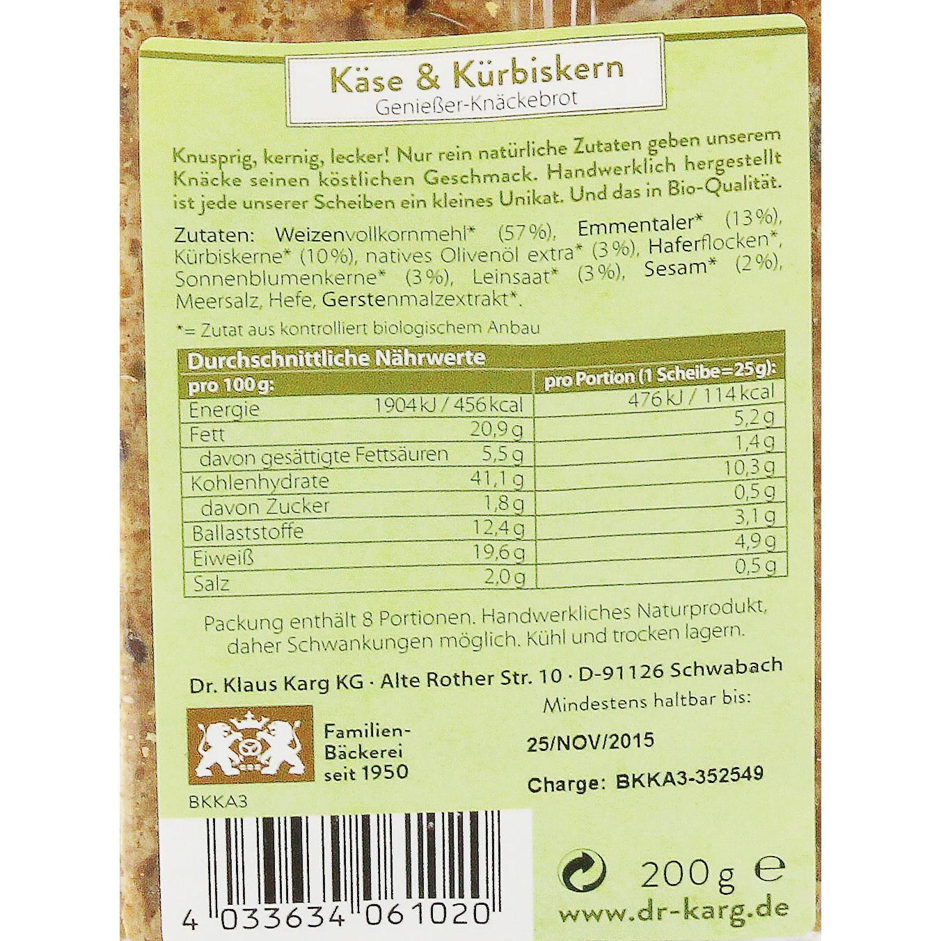 Dr. Karg's Bio Käse & Kürbiskern Knäckebrot 200g