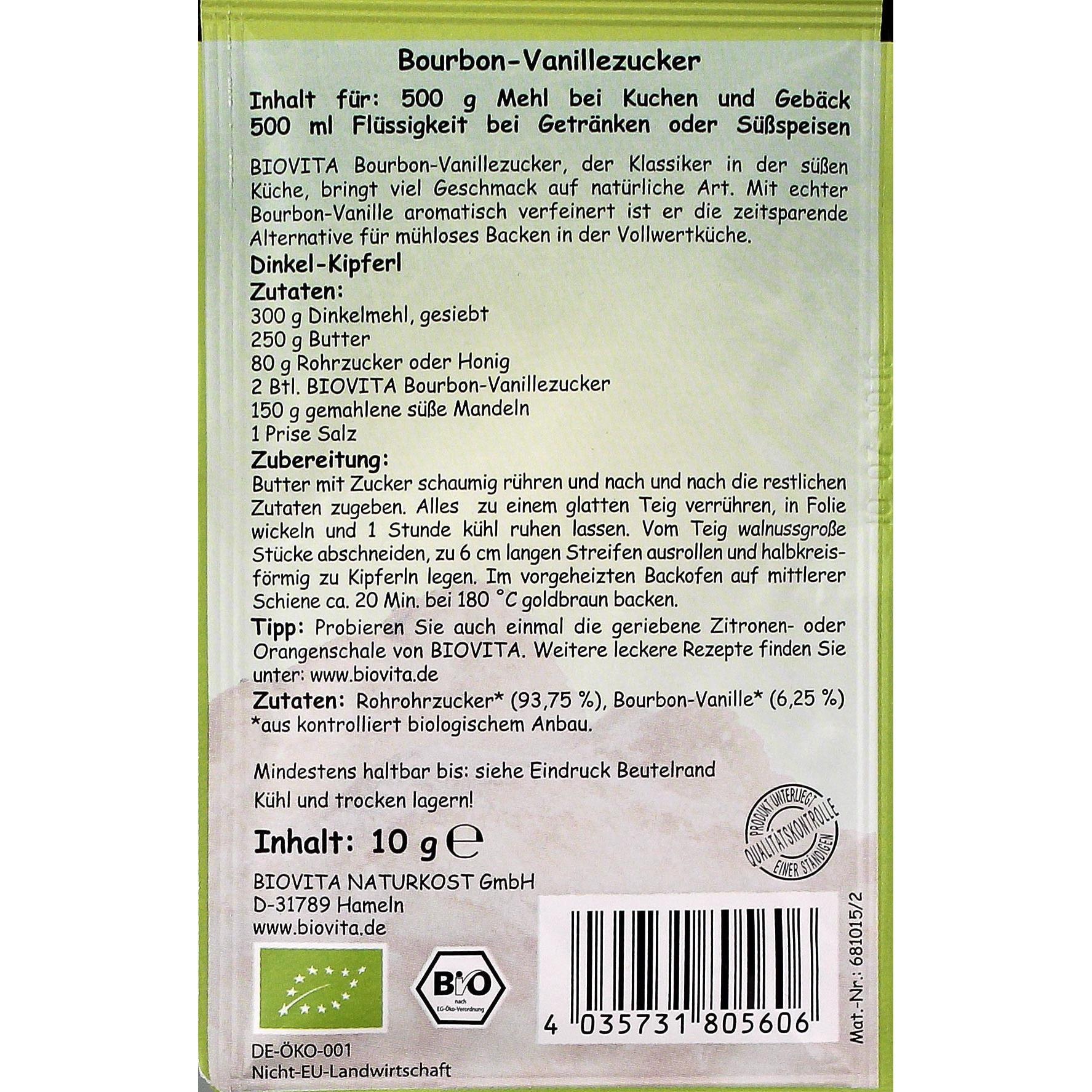 Biovita Bio Bourbon Vanille Zucker 10g