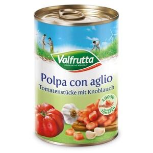 Valfrutta - Tomatenstücke mit Knoblauch - 400g