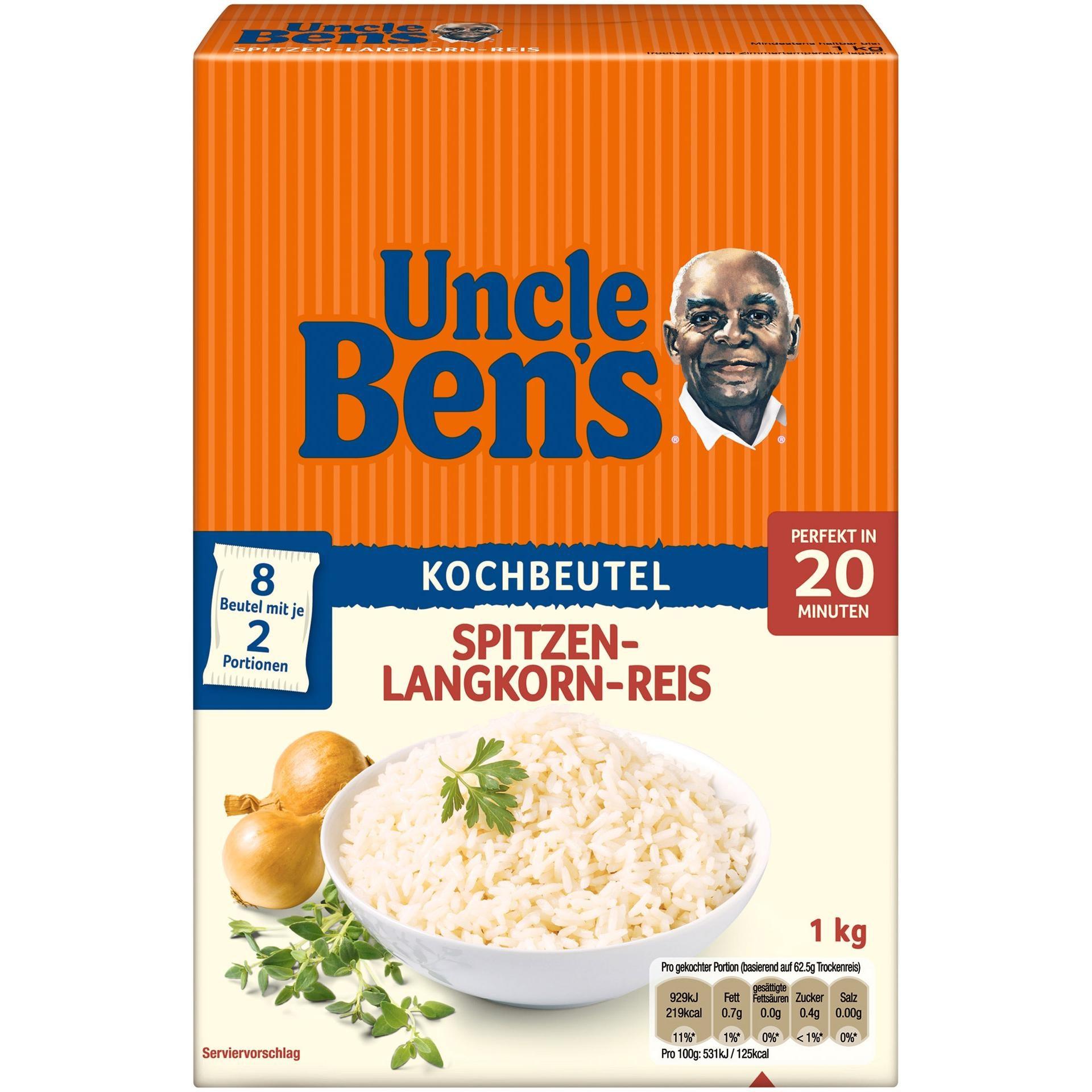 Uncle Bens - Spitzen Langkorn Reis acht Kochbeutel - 1kg