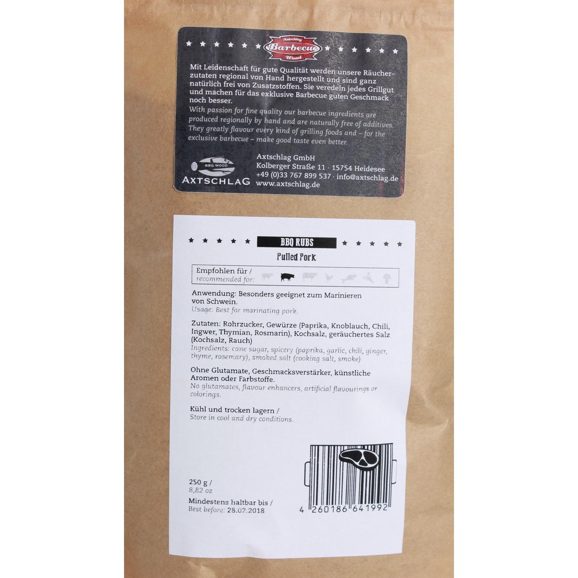 Axtschlag Barbecue Wood - Pulled Pork BBQ Rubs Gewürzmischung - 250g
