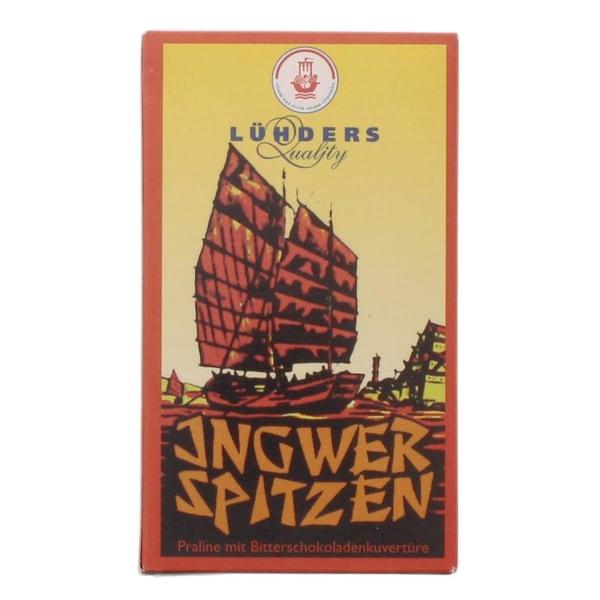 Lühders - Ingwer-Spitzen in Bitterschokoladenkuvertüre - 100g