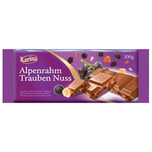 Karina - Alpenrahm Trauben Nuss - Schokolade - 100g