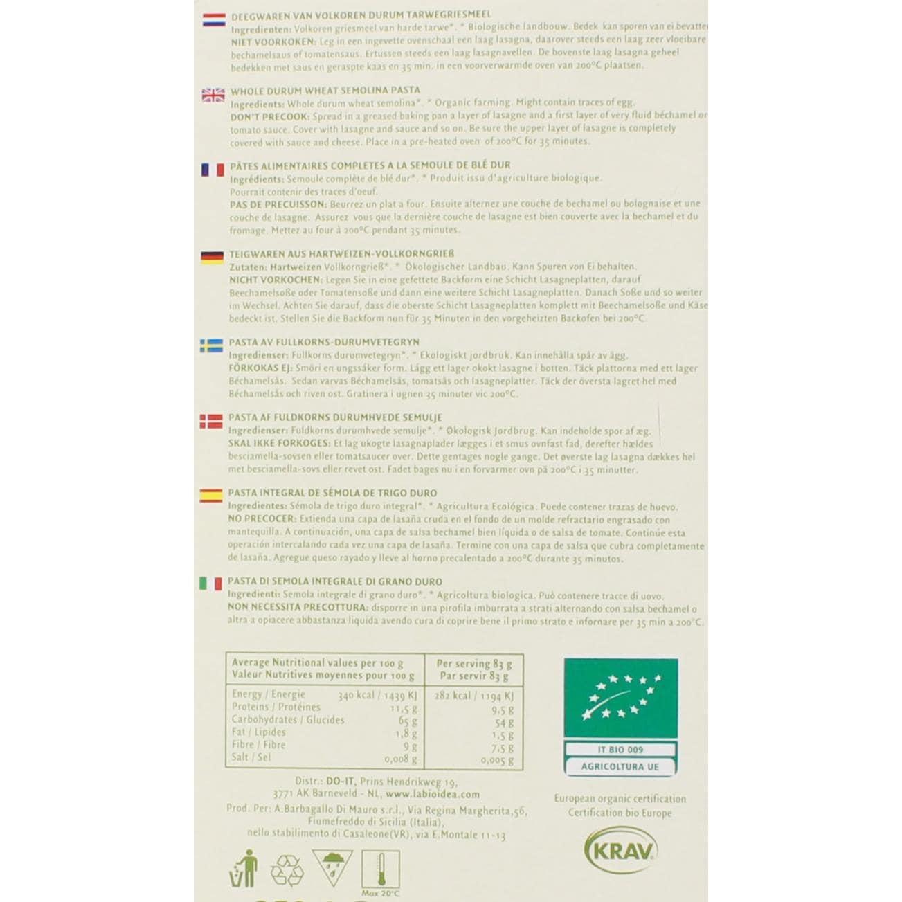 La Bio Idea Bio Lasagne Vollkorn 250g