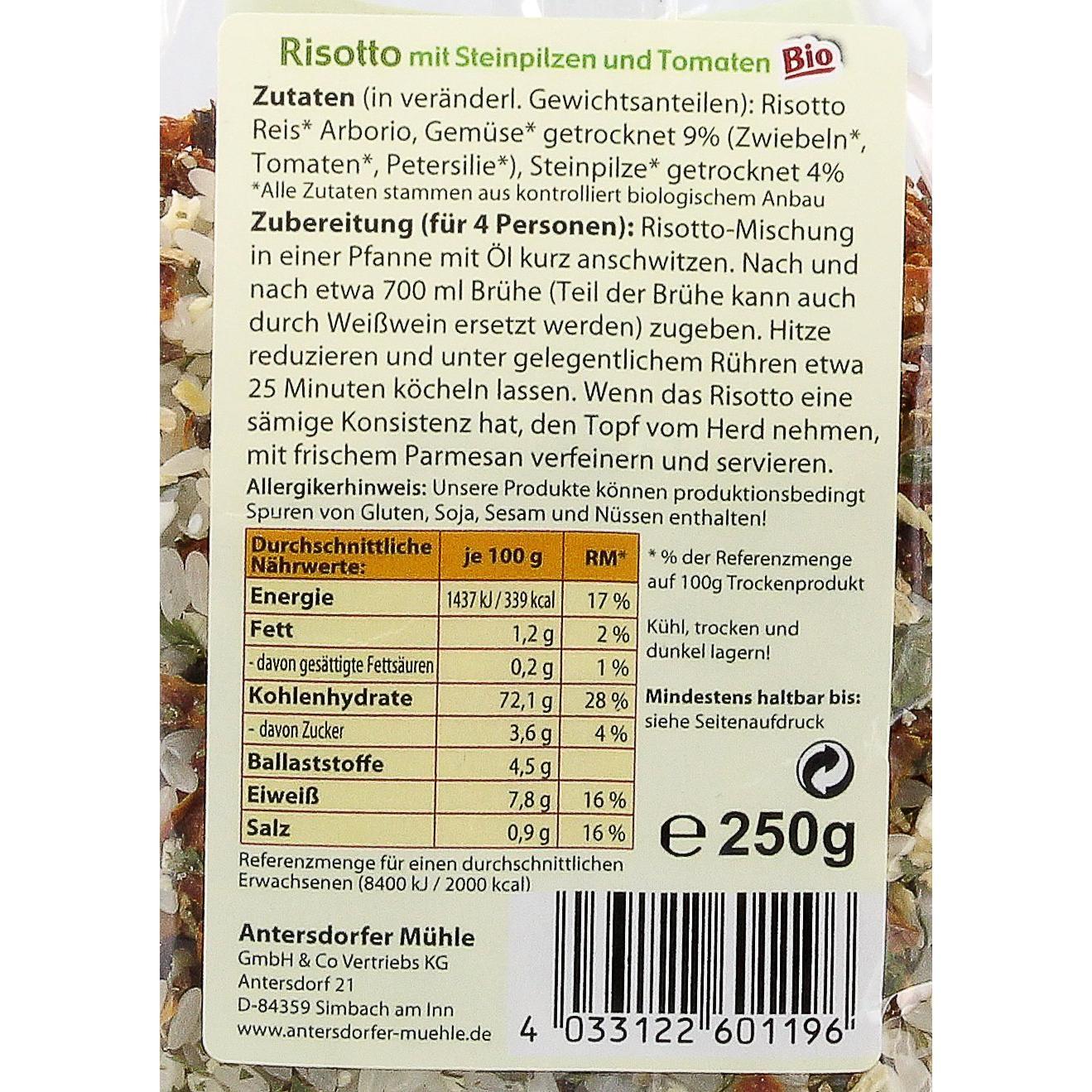 Antersdorfer Mühle Bio Risotto Steinpilz-Tomate 250g