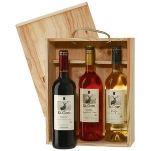 El Coto de Rioja Wein Präsent in Holzkiste 13,5% 3x0,75l