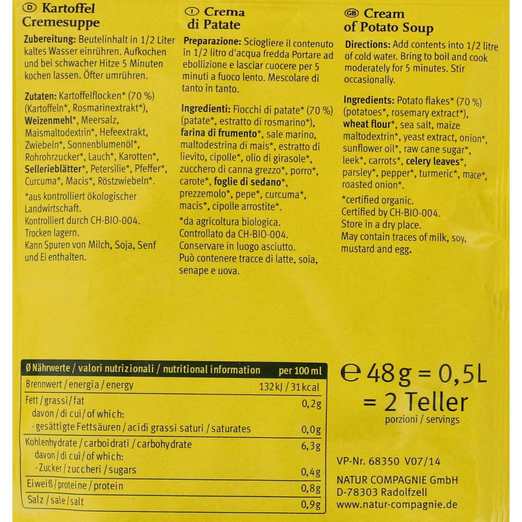 Natur Compagnie Bio Kartoffel Cremesuppe 500ml