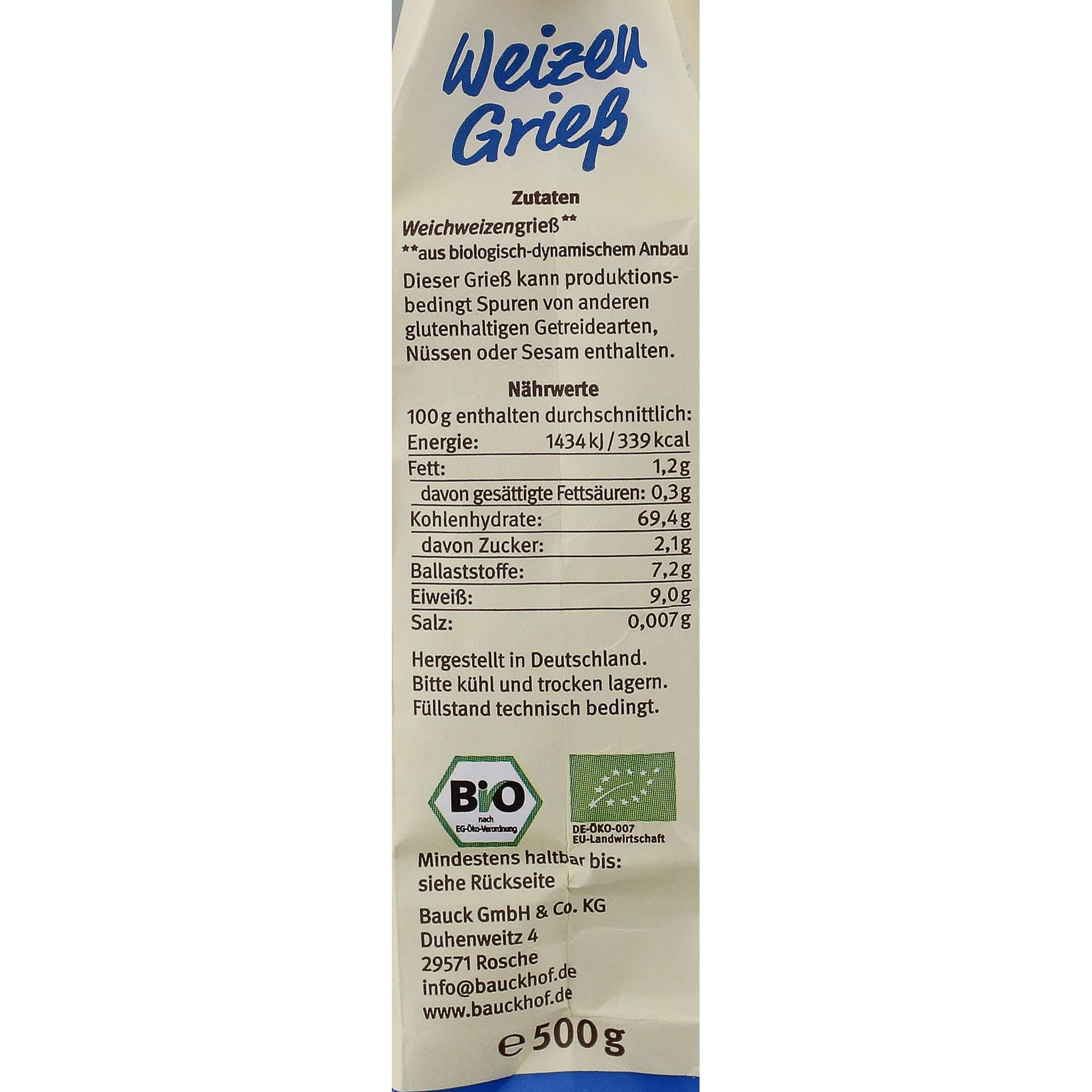Bauck Bio Weizen Grieß Demeter 500g