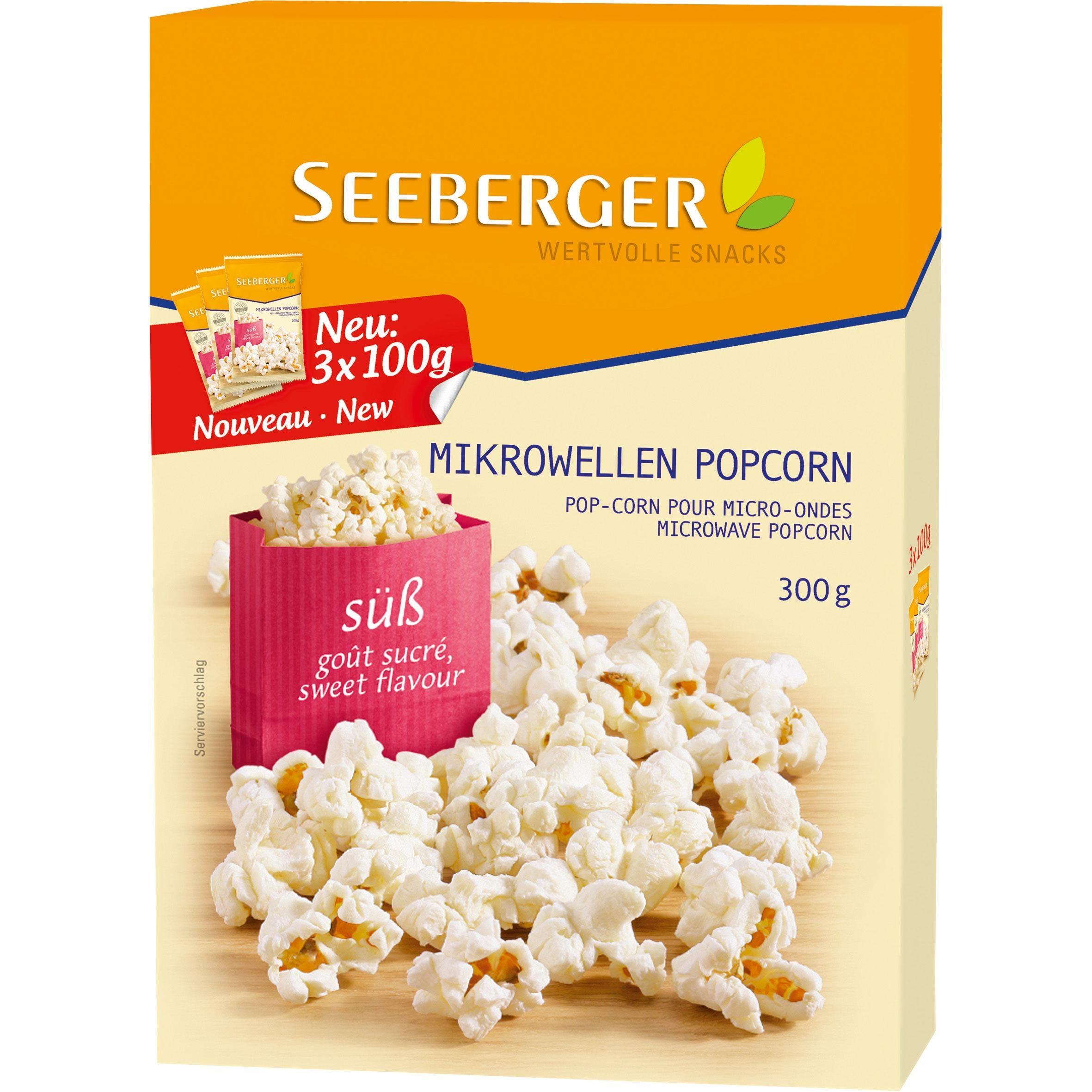 Seeberger - Süßes Mikrowellen-Popcorn 3x100g