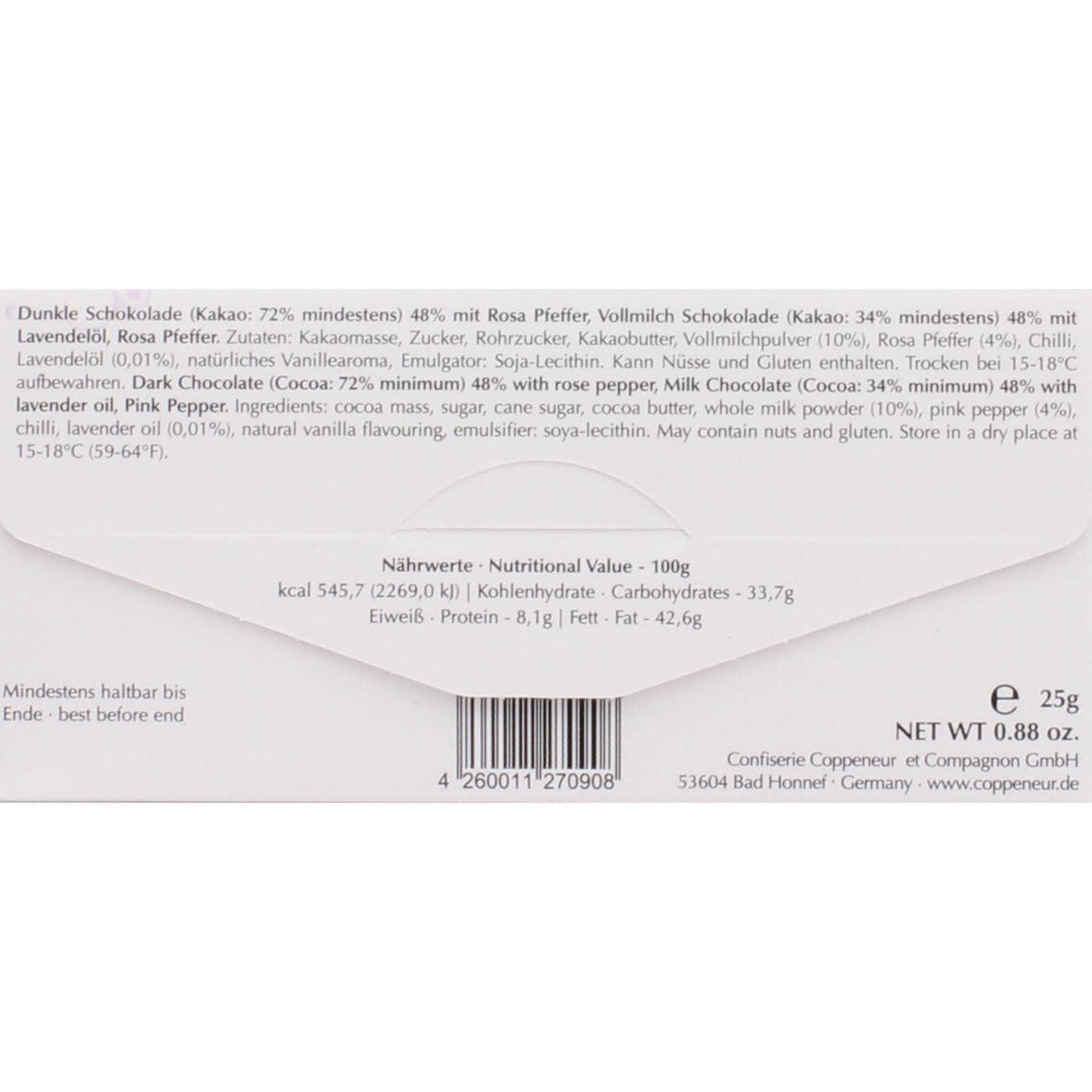 Coppeneur - Schokolade Rosa Pfeffer u. Lavendel - Schokoladentafel - 25g