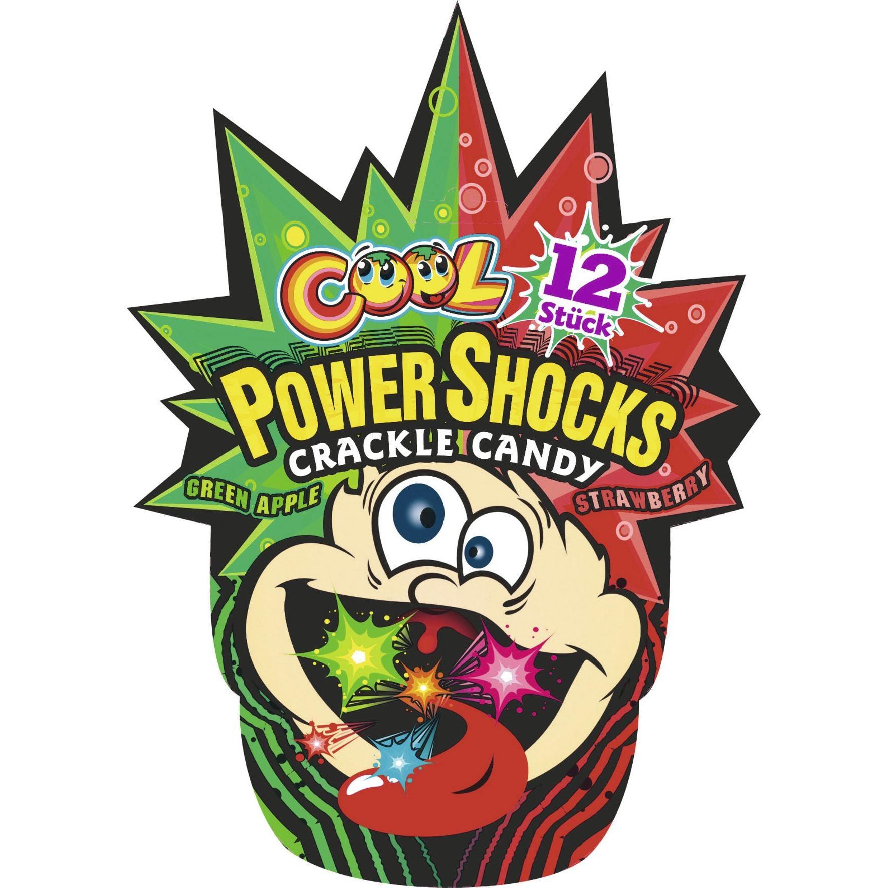 Cool Power Shocks Crackle Candy - Schleckpulver Apfel Erdbeere - 12St/18g