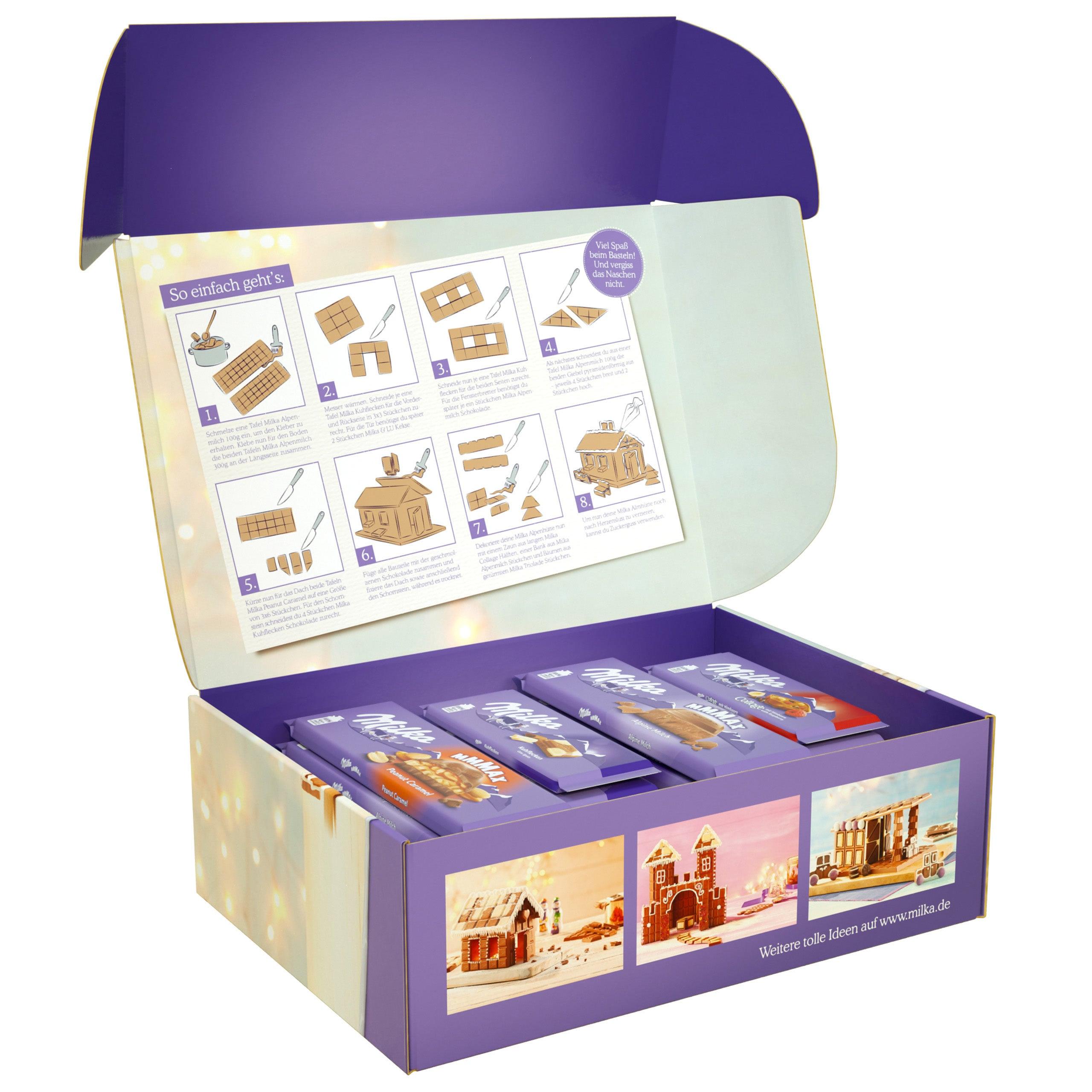 Milka Schokoladen-Haus zum Selberbasteln Bastelset 16-teilige Box 2,797kg
