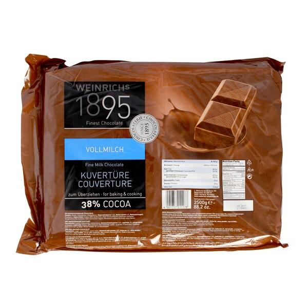 Weinrichs - Vollmilch Kuvertüre 38% Cocoa Schokolade - 2,5kg