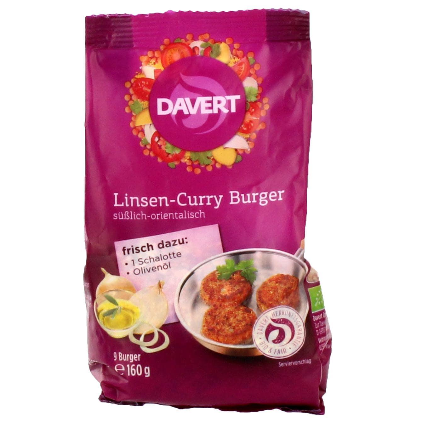 Davert Bio Linsen-Curry Burger Trockenmischung 160g