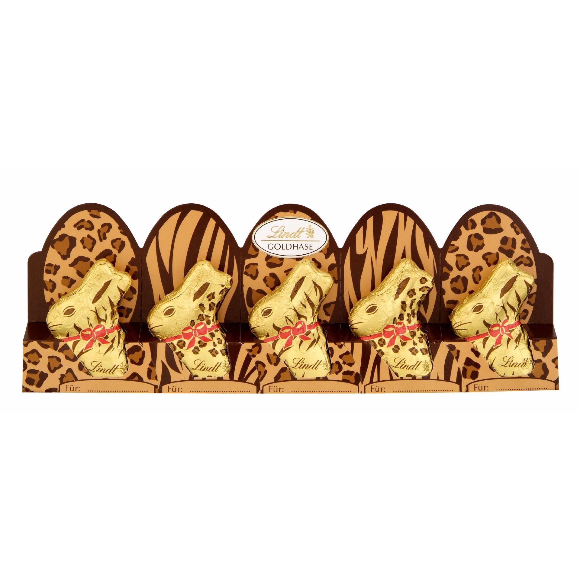 Lindt Mini-Goldhasen Edition Tiermuster 50g, 5 Stück