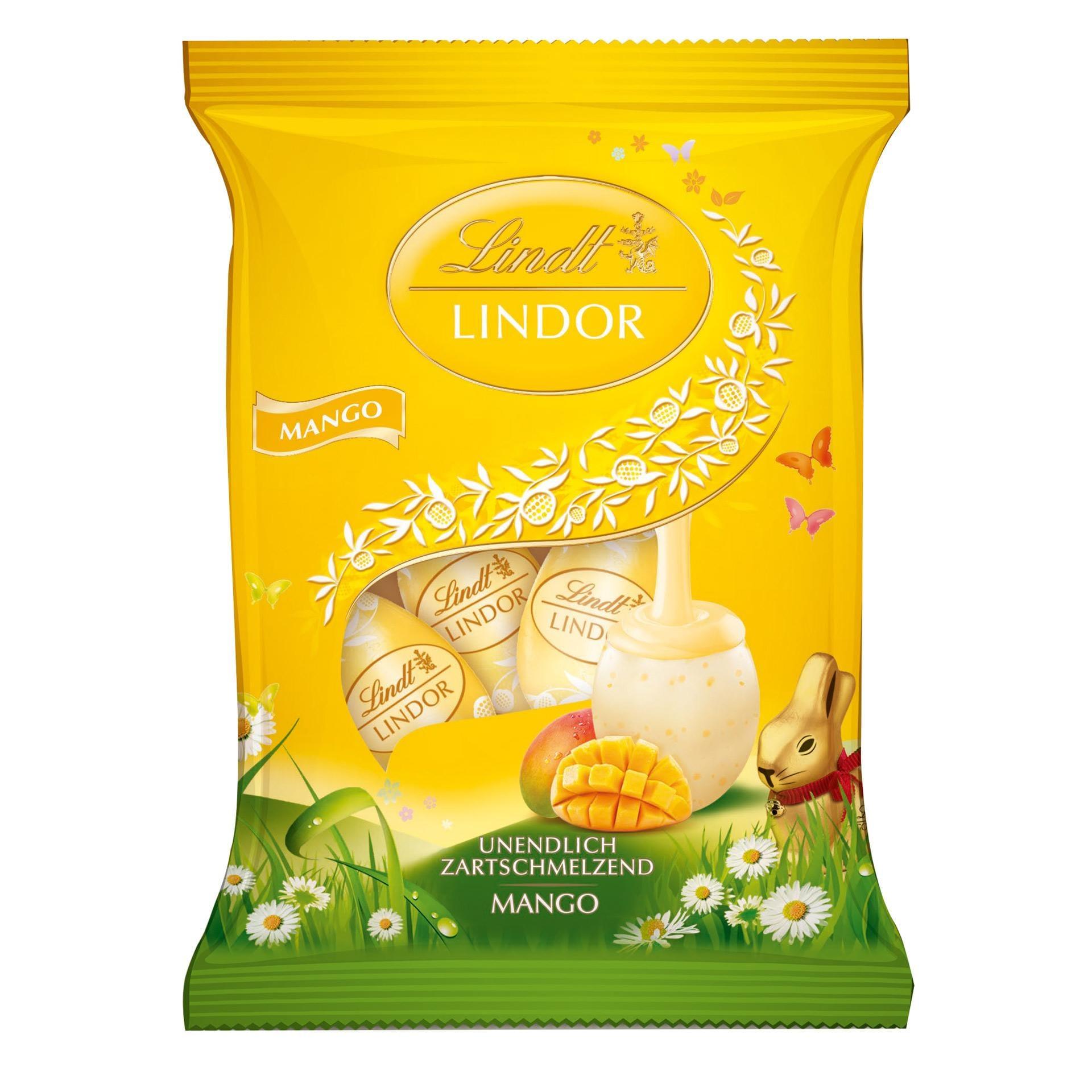 Lindt Lindor Eier Mango Schokoladeneier 90g, 5 Stück