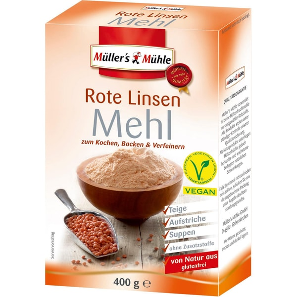 Müller's Mühle - Rote Linsen Mehl - 400g