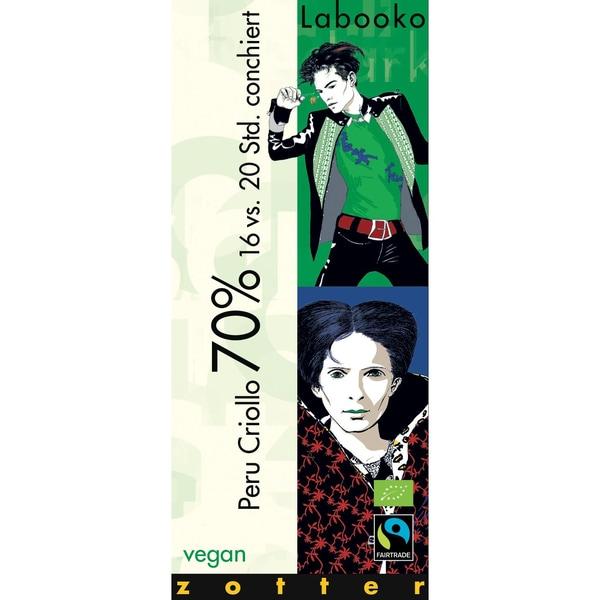 Zotter Bio Labooko 70% Peru Criollo Fairtrade Schokolade 70g