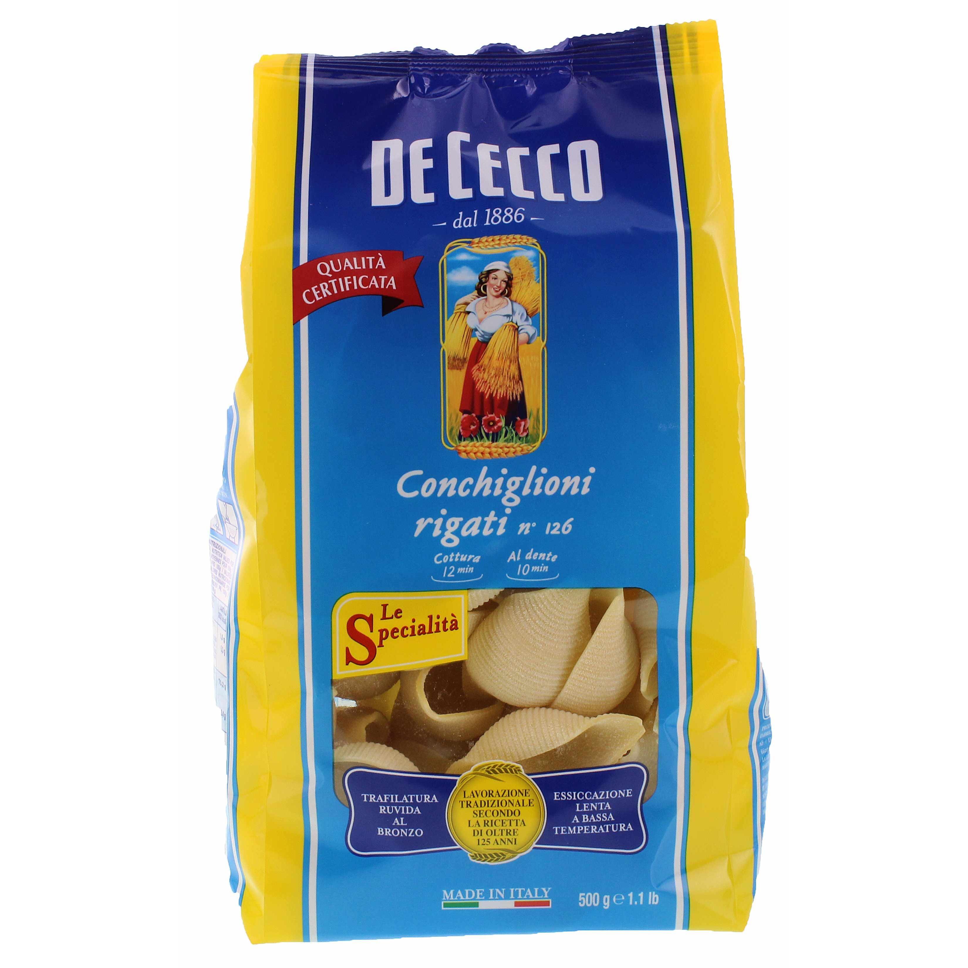 De Cecco - Conchiglioni Rigati N°126 Pasta - 500g
