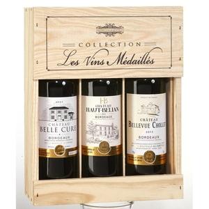 Collection Les Vins Médaillés Bordeaux Rotwein in Holzkiste Präsent 12% 3x0,75l