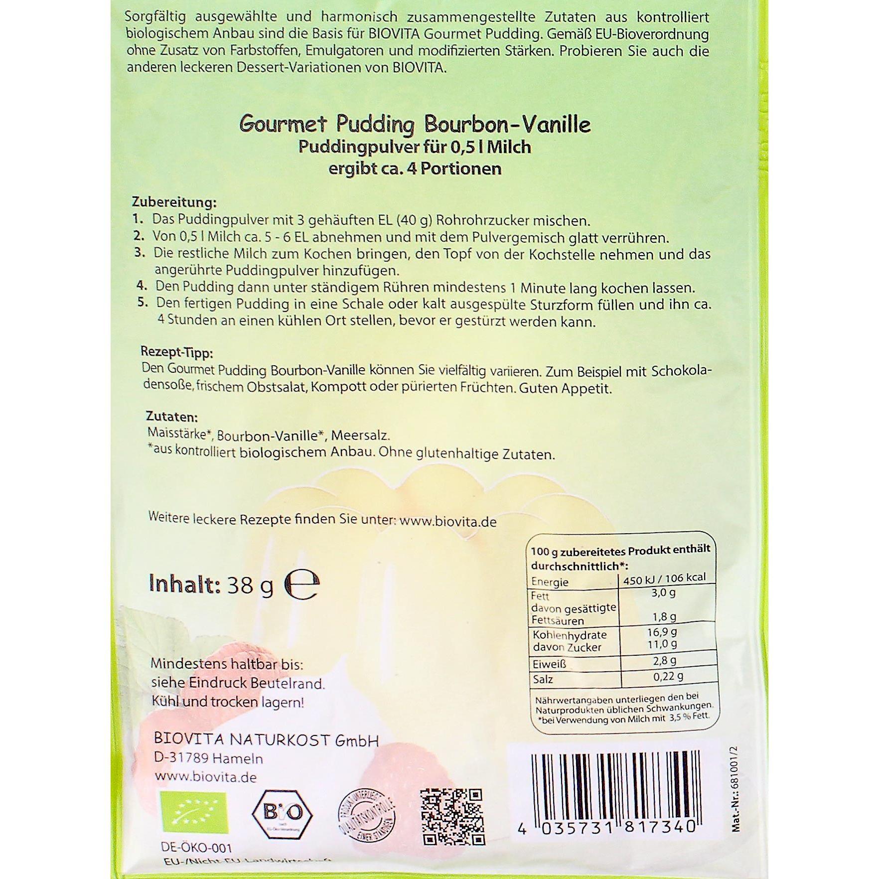 Biovita Bio Gourmet Pudding Bourbon-Vanille 38g