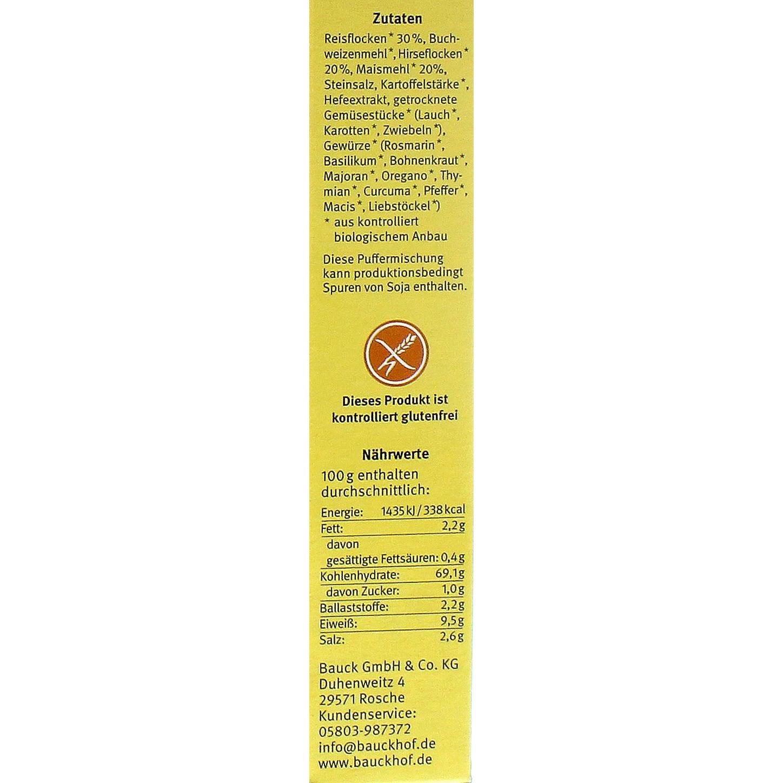 Bauck Bio 3-Korn Fertigmischung für Puffer glutenfrei 160g