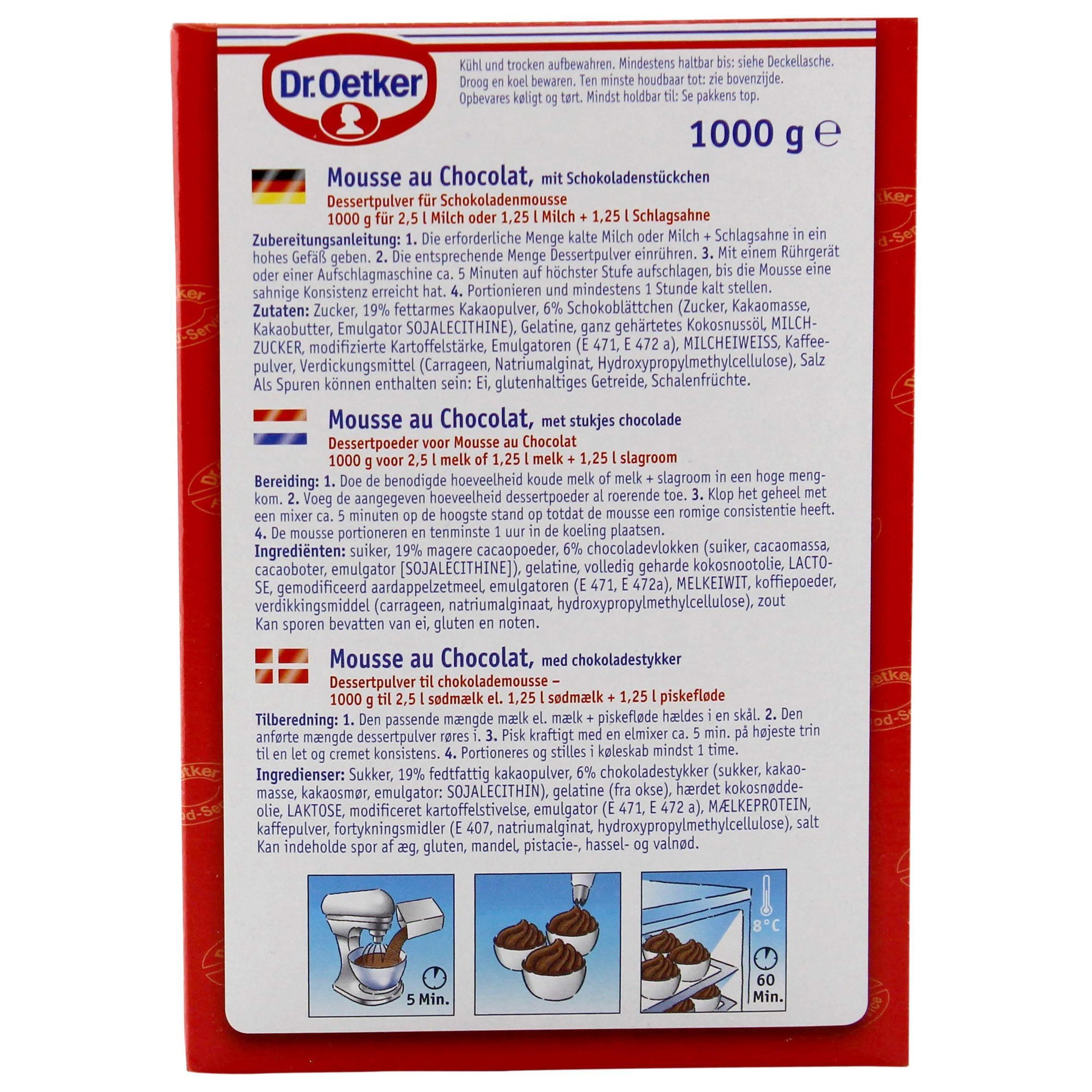 Dr.Oetker Mousse au Chocolat Mit Schokoladen-Stückchen 1kg