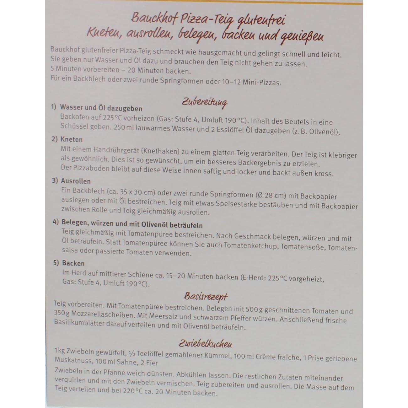 Bauck Hof Bio Pizza-Teig Backmischung glutenfrei 350g