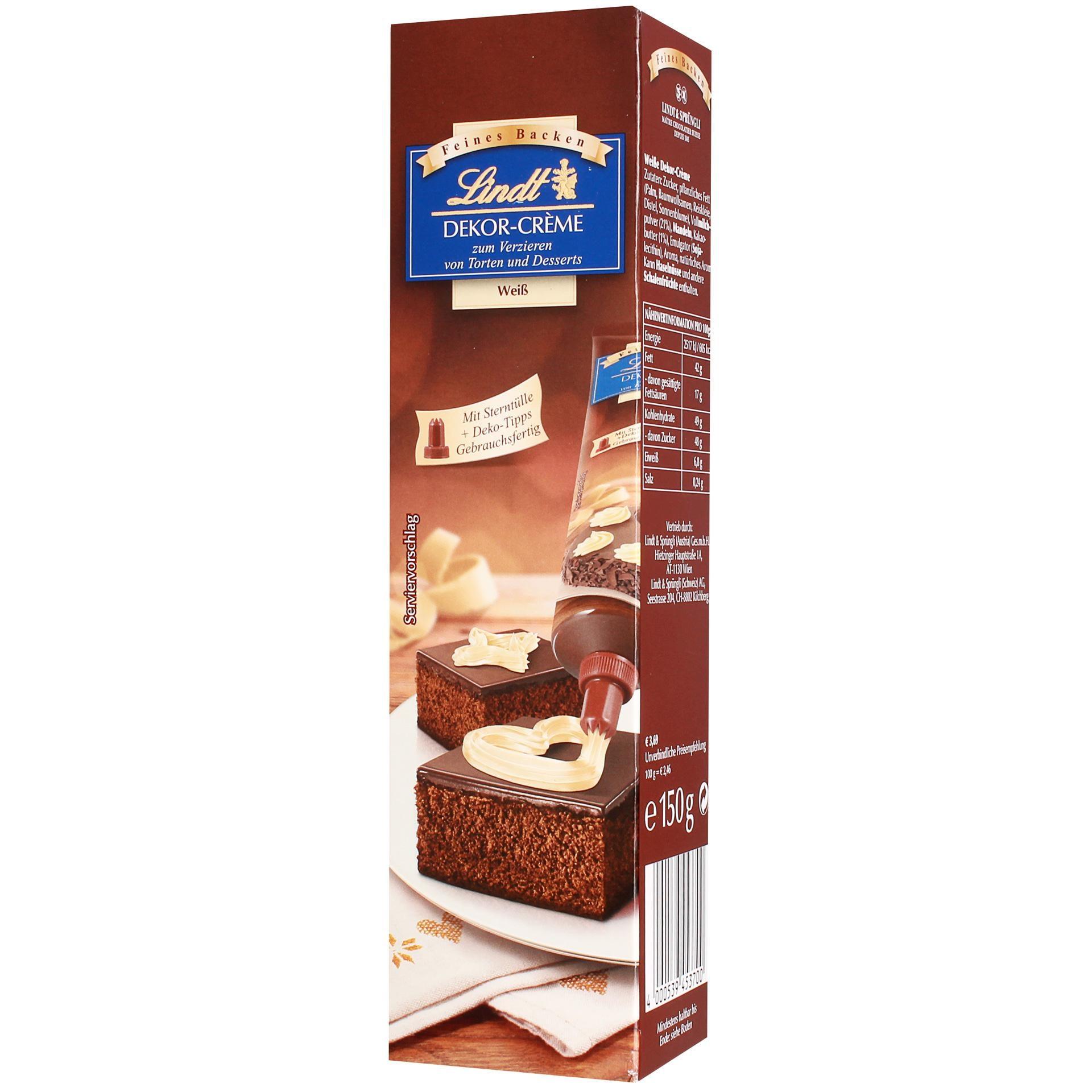 Lindt - Dekor-Crème Weiß mit Sterntülle Tortendekor - 150g