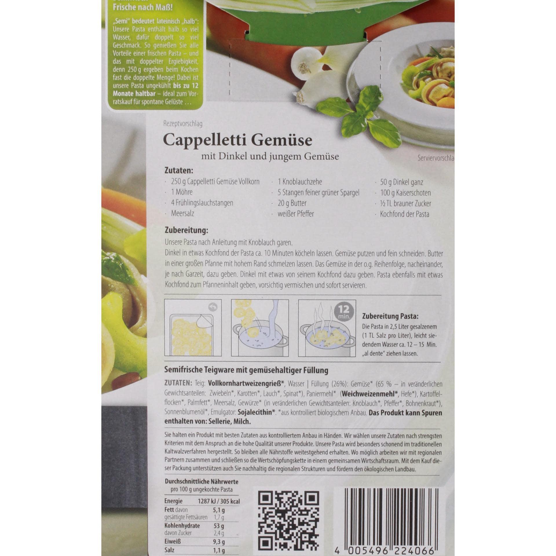 D'Angelo Bio Cappelletti Vollkorn Gemüse 250g