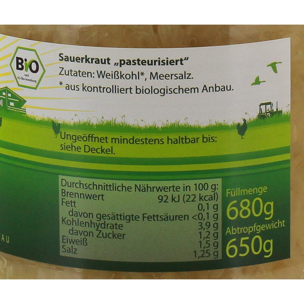Marschland Naturkost Bio Sauerkraut Weißkraut Weißkohl Sauerkohl 650g