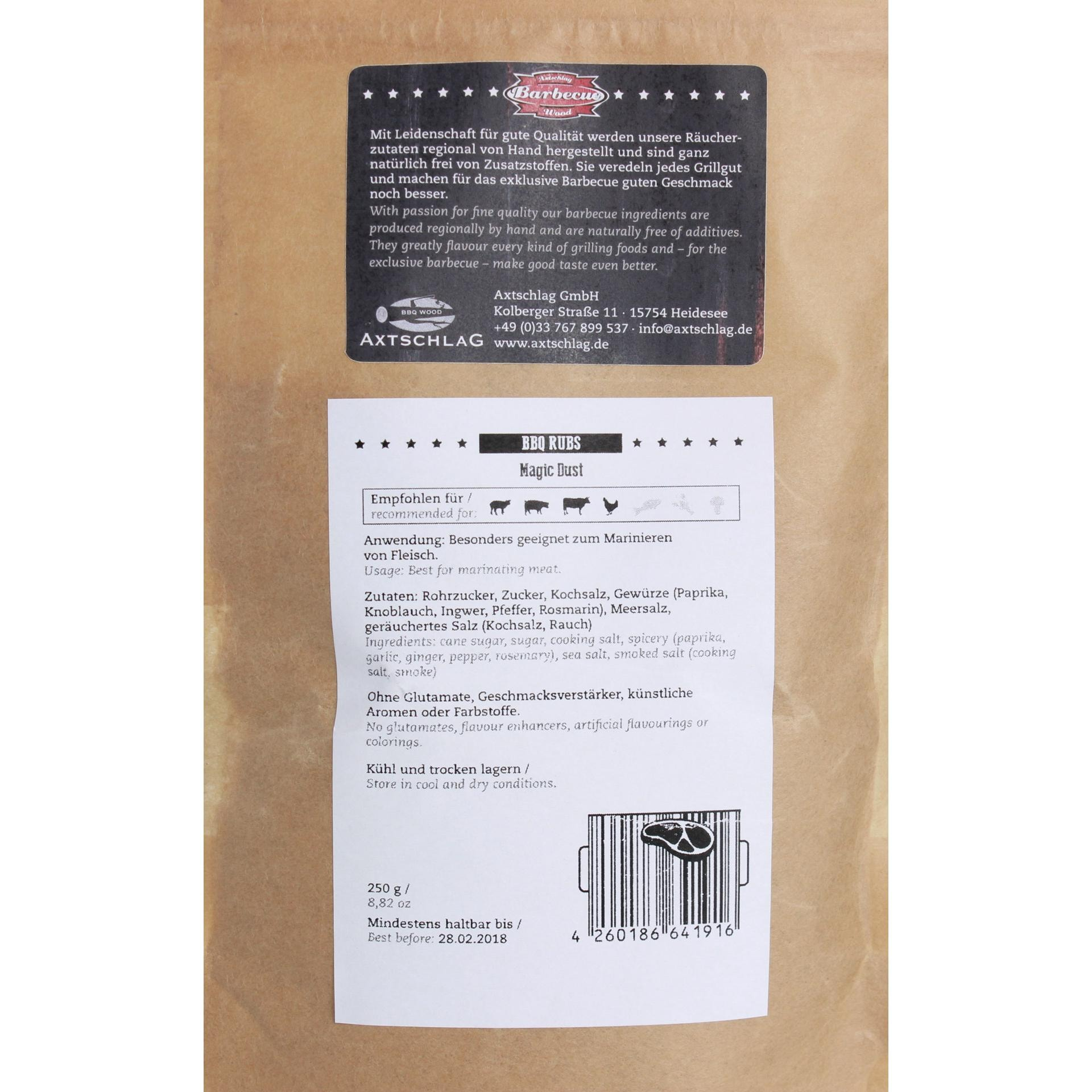 Axtschlag Barbecue Wood - Magic Dust BBQ Rubs Gewürzmischung - 250g